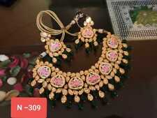 Gold Plated Choker Traditional Indian Kundan Green Meena Necklace Earrings Set