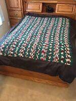 "VTG Afghan Crochet Chevron Zig Zag 60x80"" Blanket Handmade Throw Bed Couch Quilt"