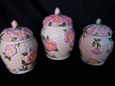 Franciscan Desert Rose Canister Set Basket Weave Rubber Seals Pottery & Glass