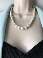 Vintage Necklace 1960s Single Strand White Faux Pearl Large Beads