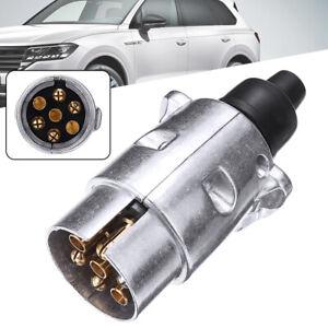UK  7 Pin Towing Electrics Metal Trailer Car Plug Socket Towbar Aluminium UK