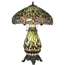 Tiffany-Style Yellow Dragonfly Lighted Base Table Lamp Stained Glass Decor Look