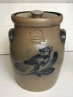"Rowe Pottery Works Bird Salt Glazed Medium Crock & lid 9.5"" tall Gray & Blue"