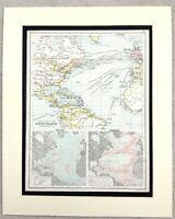 1899 Antique Map of The North Atlantic Steam Ship Routes 19th Century Original