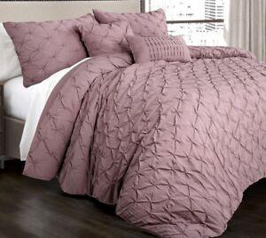 5pc RAVELLO PINTUCK WOODROSE COMFORTER SET King or Queen Solid Purple Bedding