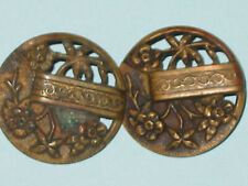 2 Antiq Pierced Brass Metal Picture Shank Buttons Raised Flowers & Banner Ribbon