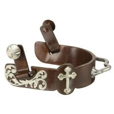 Kelly Silver Star by Tough-1 Floral and Cross Bumper Spur Antique Brown