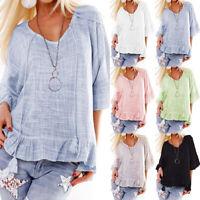 Womens Summer Ruffle Bell Short Sleeve Tee Top Casual Beach Loose Blouse T-Shirt