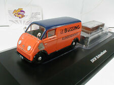 """Schuco 02389 # DKW Schnelllaster Büssing mit Anhänger Baujahr 1962 """"orange"""" 1:43"""