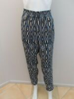 WITCHERY BLUE/LATTE/BLACK PRINT PANTS WITH ZIP UP HEMS SIZE 12  (#M1235)