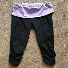 Lululemon Nothing to hide Capris Size 6 8 Black Purple Fold Over Ruffle J5