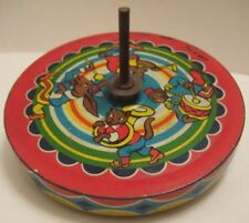 Antique Tin Toy Spinning Top w Animal Marching Band Unusual Flat Shape 1930s-50s
