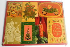 Vintage 40's 50's Hand Crafted Christmas Cards Particle Board Decoupage Scene
