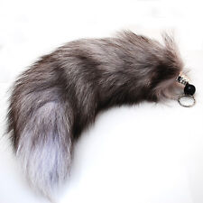 1PC Genuine Silver Fox Tail Key Chain Fur Tassel Bag Tag Charm Keyring Chain