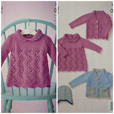 KNITTING PATTERN Baby Lacy & 2 colour Cardigans, Dress & Helmet Aran KC 3973