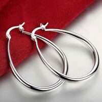 Womens 925 Silver Plated Classic 41mm Oval Shaped Vogue Hoop Earrings #E61