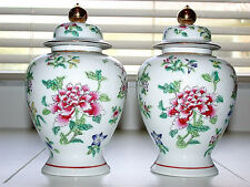 Beautiful Vintage 1970 Japanese A.C.F. Hand Painted Ginger Jar Pair