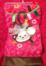 LOLLYPOP MONKEY  Baby Blanket Infant Soft Girls Pink Embroidered NEW NWT Lovey