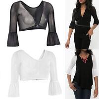 Women's Plus Size Both Side Mesh Sheer Seamless Arm Shaper Tops Shirt Blouse