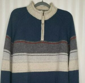 The Territory Ahead Mens Sz XL Pullover Sweater 1/4 Zip Blue Ivory Wool Blend
