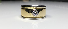 Estate 18K Yellow & White Gold 0.25 CTW Diamond Solitaire Ring Band 10Gr Size5.5