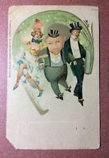 Art Nouveau postcard 1910s LITHO Bruno Burger Carnival drunk pig Pin-Ups cancan