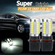 2pcs Xenon White P13W LED 33SMD Bulbs Daytime Running Lights Fog Lamps 6000K 12V