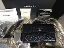 NWT CHANEL BLACK LAMB CAMELLIA LONG FLAP WALLET ORGANIZER CLUTCH SILVER SOLDOUT