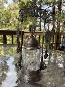 "DERBY SILVER Co. Victorian 3-Owl PICKLE CASTOR SET w/Cranberry Glass Jar 12"" h"