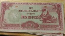 10 rupees Burma Japanese Invasion Money Circulated All BA Block
