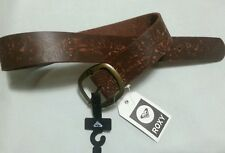 ROXY REAL LEATHER BELT SIZE S 12 NWT BRASS BUCKLE HIBISCUS IMPRINT 4 JEANS