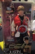 RARE JUSTIN BIEBER RED COAT DOLL COMES WITH DOLL WITH FASHION, 1 PAIR OF SHOES,