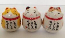 Maneki Neko Lucky Cat kawaii 3 Cute Cats Set Tumble Doll so many Visitors JAPAN