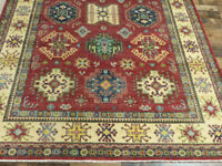 "6'7""x9'8"" New Geometric Pakistani Kazak hand knotted wool Oriental area rug"