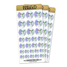 Hummingbird with Hydrangeas Removable Matte Sticker Sheets Set