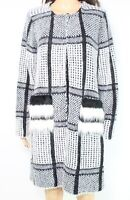 Sioni Womens Sweater White Combo Size Medium M Faux-Fur Knit Cardigan $98 034