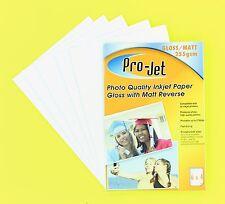 100 Sheets GLOSS + MATT Double sided 6x4 Photo Paper 255gsm Pro-Jet Inkjet Paper