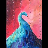 Maria Scalf Peacock Bird Animal Nature Expressionism ORIGINAL PAINTING 9x12