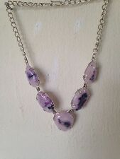 Large silver tone necklace with purple stones 18""