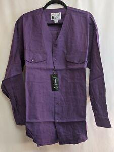 Goouch Mens MEDIUM Purple Plum Button Up Long Sleeve 100% Linen V-Neck Shirt 90s