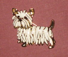 WESTIE West Highland White Terrier Pin Dog Gold Tone Black Eyes New