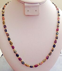 Genuine Watermelon Tourmaline Gemstone Necklace your length and finish