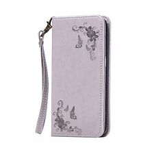 Flip Leather w/Strap Card Stand Cover Case For Samsung Galaxy S3 S4 S5 S6 S7Edge