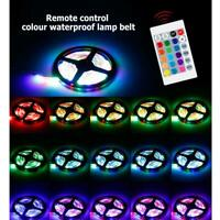 1-5M LED RGB Strip Light Cabinet Bed Lights Flexible Lamp Tape w/Remote Control
