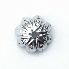 Antique Silver Plated 10mm Dotted Flower Petal Bead Caps Q200