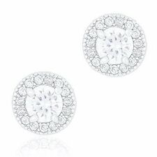 Orrous 18k White Gold Plated Cubic Zirconia Round Halo Stud Unisex Earrings
