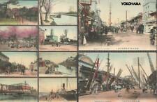 JAPAN Lot x 10 Hand-Tinted Postcards c1910 - YOKOHAMA - Various Scenes