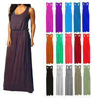 Womens Maxi Dress Ladies Jersey Toga Maxi Racer Back Long Vest Maxi Dress 8-14