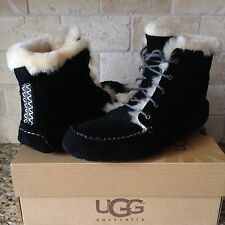 UGG Chickaree Lace-up Slippers Moccasins Black Suede Shoes Boots US 9 Womens