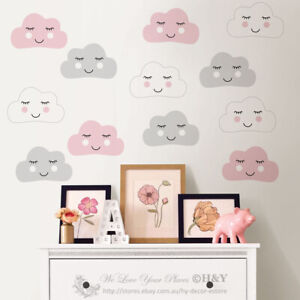 Smile Clouds Wall Sticker Kids Nursery Decor Removable Girl Decal Art Mural Gift